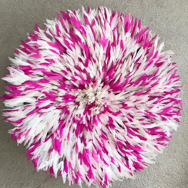 "31"" Pink & White mix Bamileke Juju Hat from Cameroon - Afrilege"