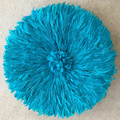 "31"" Sky Blue Authentic Bamileke Juju Hat from Cameroon - Afrilege"