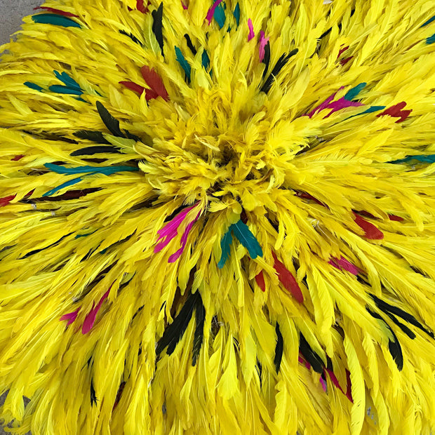 "31"" Yellow Authentic Bamileke Juju Hat from Cameroon - Afrilege"