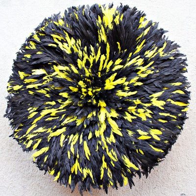 "32"" Black & Yellow Mix Bamileke Juju Hat from Cameroon - Afrilege"