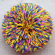 "32"" Muliticolor Yellow Blue Purple Orange Bamileke Juju Hat from Cameroon - Afrilege"
