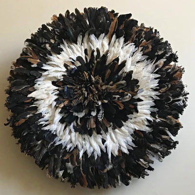 "31"" Dark natural feathers & white Bamileke Juju Hat from Cameroon - Afrilege"