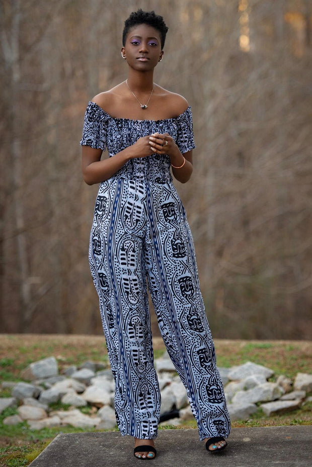 African print Zona Jumpsuit (Black & White) - Afrilege