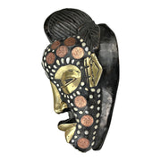 African Wooden Mask With Kobo Coins, Bronze And Cowrie Shells - Afrilege