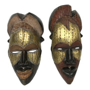 Mask - Tikar Hand Carved Bronze African Mask