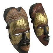 Mask - Tikar Tribe Hand Carved Bronze African Mask