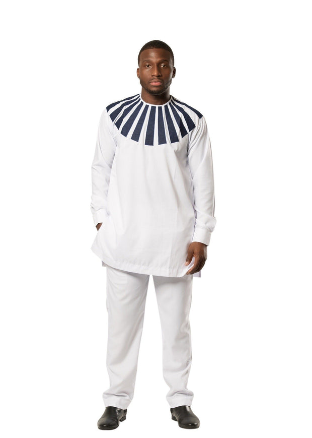 African Men Sunny wear Two Pieces ( shirt + pant) - White / Blue - Afrilege