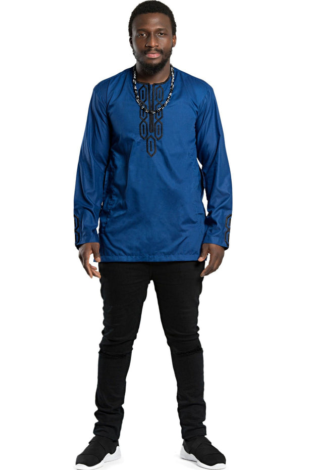 African Men wear 2-pieces ( shirt + pant) - Blue / Black - Afrilege