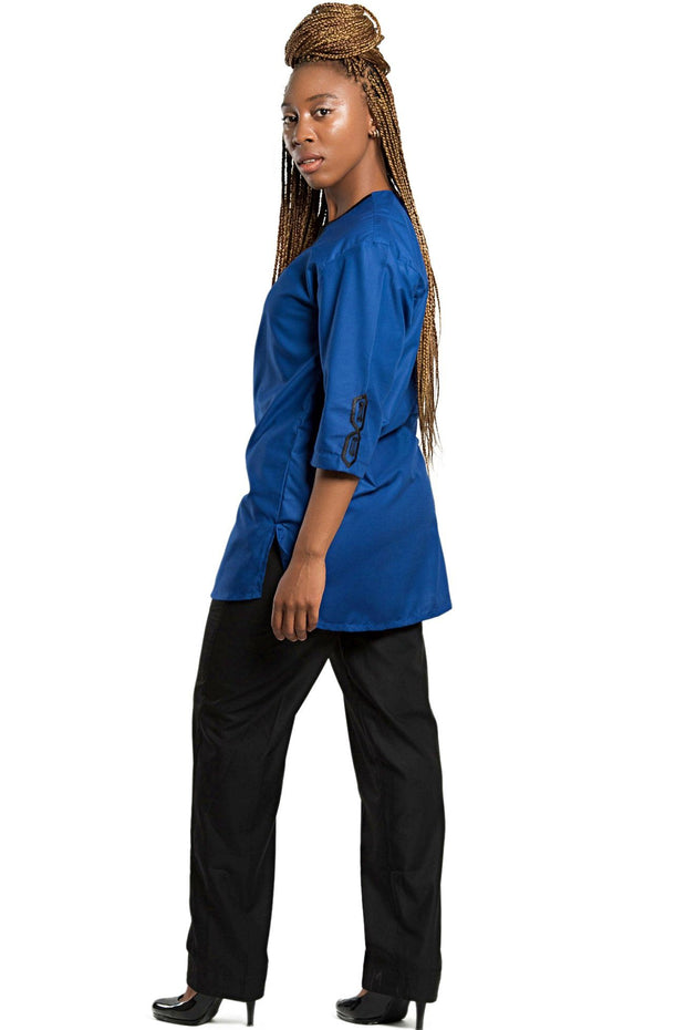 Haija African Women wear 2-pieces ( shirt + pant) - Blue - Afrilege