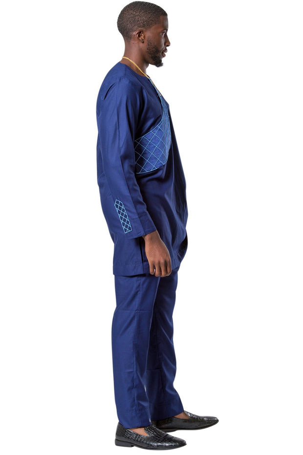 Baba Embroidered 2-pieces African Men's Wear ( Shirt + Pant) - Navy Blue - Afrilege