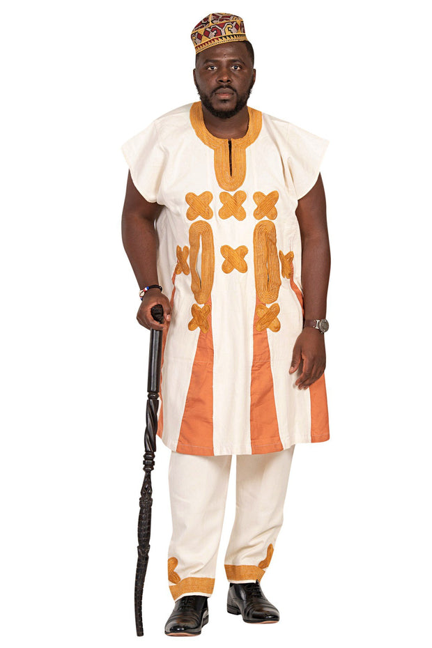 Shepherd African 3-pieces Men Wear - Beige / Orange - Afrilege