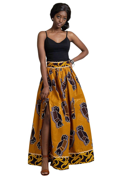 Ayomide African Print Maxi Skirt ( Brown - Gold) - Afrilege