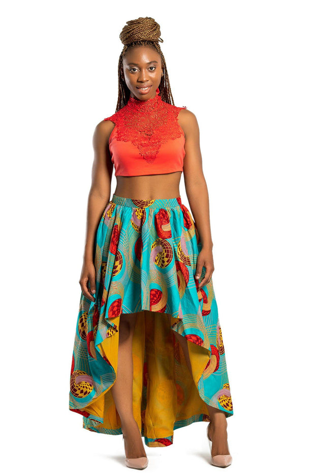 Maxi Skirt - Ode African Print Hi Lo Skirt (Green/ Red)
