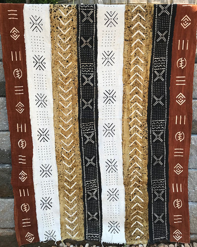 Multi-colored African Mudcloth Fabric from Mali - Black / Gold/ Rust - Afrilege