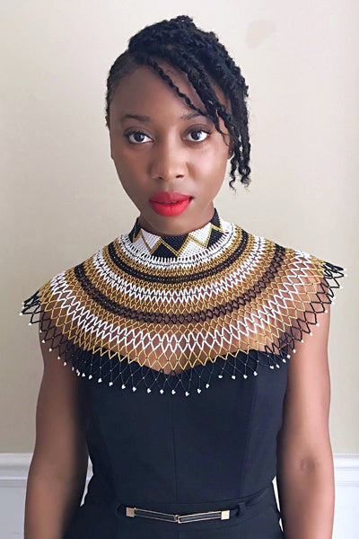 African Beaded Maasai Shoulder Choker Necklace - Black / Gold / White - Afrilege