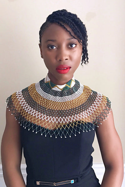 African Beaded Maasai Shoulder Choker Necklace - Green / Gold / White - Afrilege