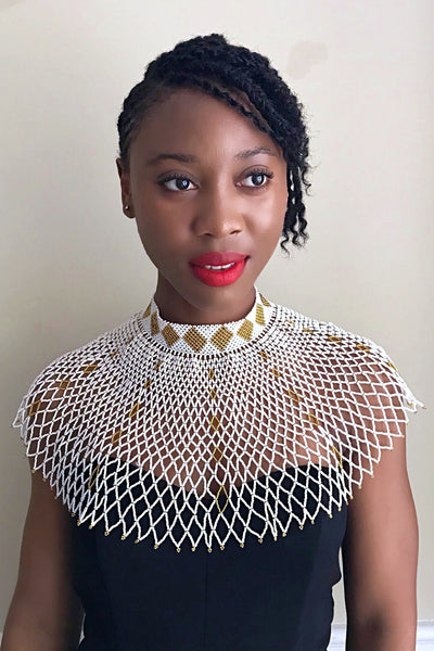 African Beaded Maasai Shoulder Choker Necklace - White / Gold - Afrilege