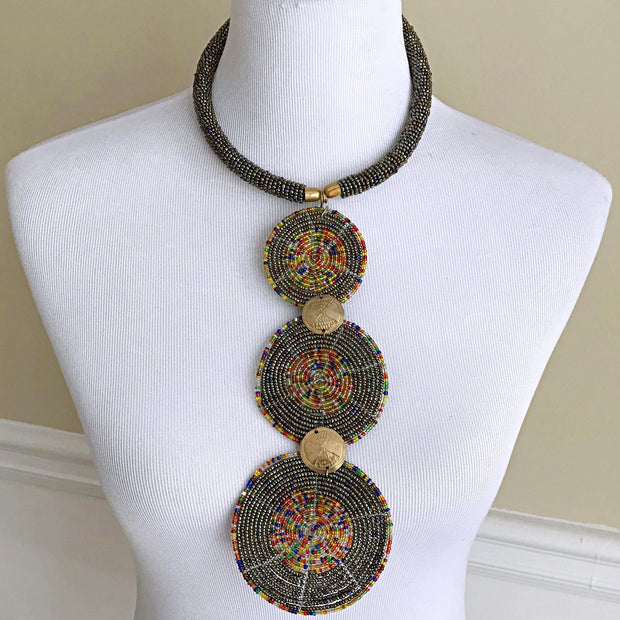 African Maasai Statement beaded necklace - Afrilege