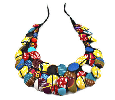 African Print Colorful Buttons Bib Necklaces - Afrilege