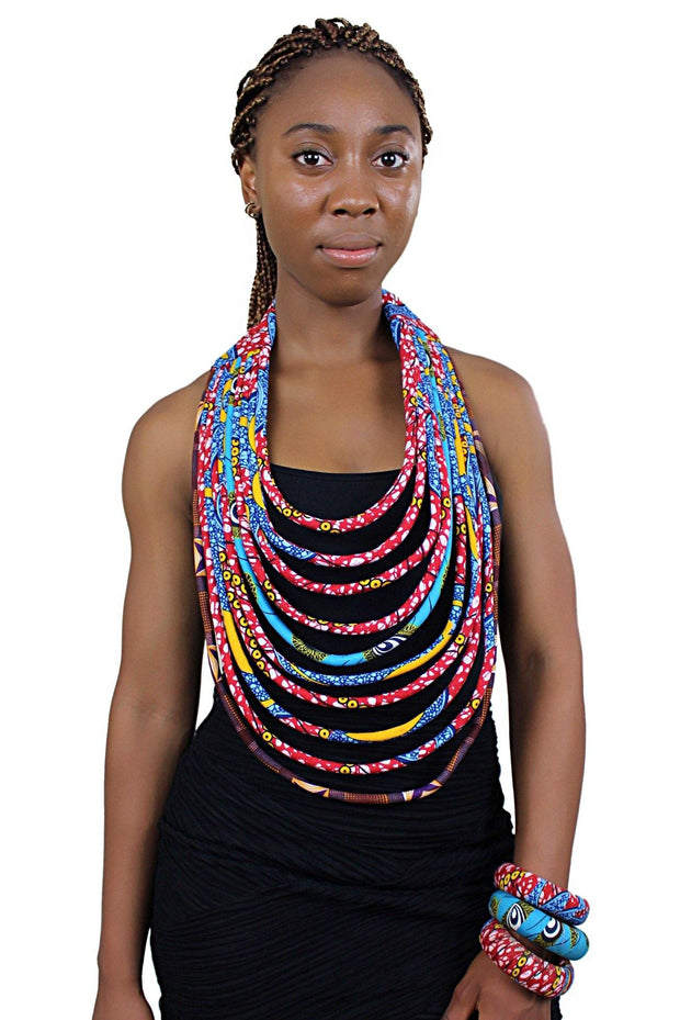 African Print Multi-Strand Statement 10 lines necklace - Afrilege