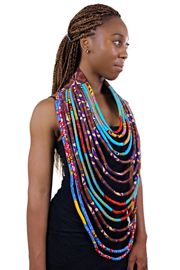 African Print Multi-Strand Statement 15 lines necklace - Afrilege