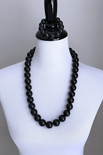 Black beads wood necklace - Afrilege