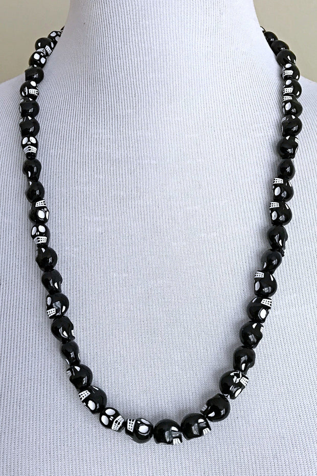Black skull beads necklace for men - Afrilege