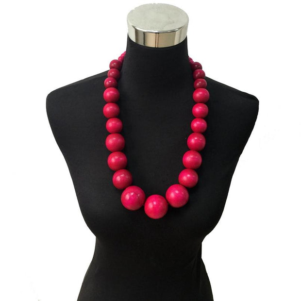 Colorful wood beads statement necklace - Afrilege