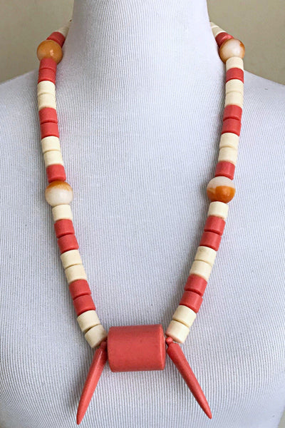 Coral/ beige Mix Igbo Nigerian Wedding necklace for men - Afrilege