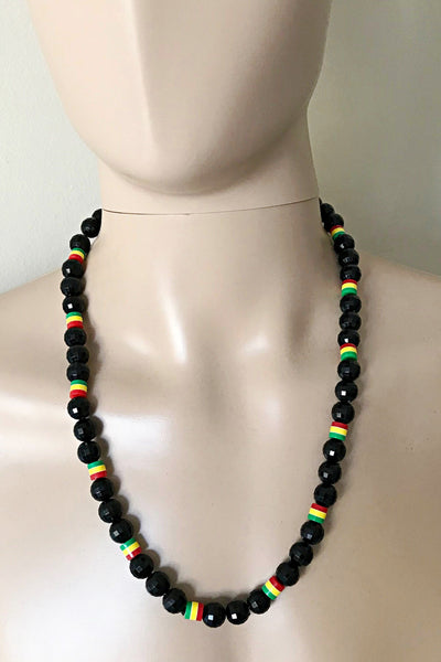 Jamaica colors black beads necklace for men - Afrilege