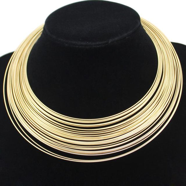 Multilayer Metal Wire Chokers Jewelry Set - Afrilege