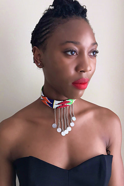 Maasai beaded choker necklace - Afrilege