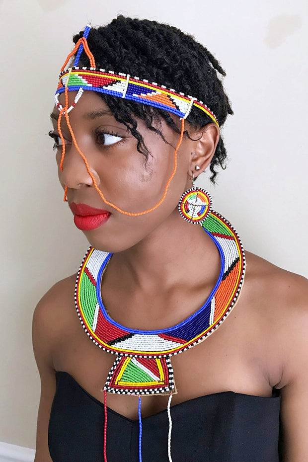 Maasai beaded forehead jewelry - Afrilege