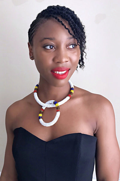 Maasai Beaded Rope Necklace / Headband & Bangle set - Afrilege