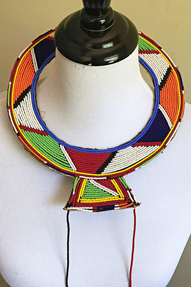 Maasai Handmade Traditional Wedding Beaded Leather Necklace - Afrilege