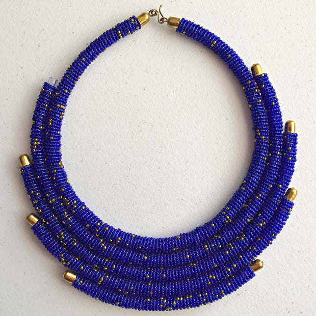 Multilayer Maasai beaded necklace - Afrilege