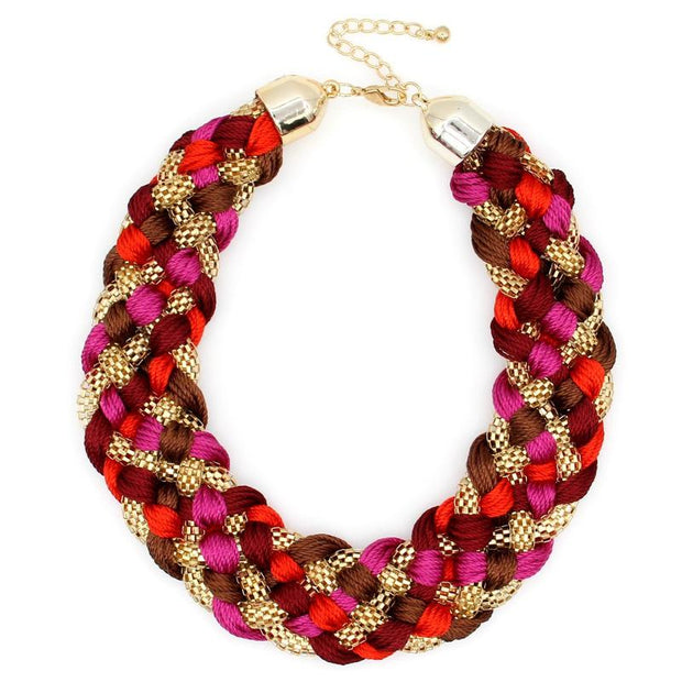 Necklace - Pink-Red Weaved Maxi Necklace