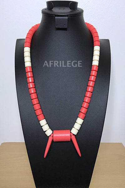 Coral/ beige Igbo Nigerian Wedding beads necklace with tusks - Afrilege