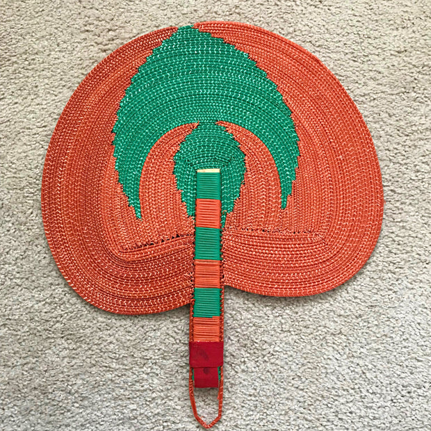 African woven hand fan from recycled plastics - Green / Orange - Afrilege