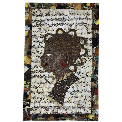 "15.5"" x 9"" Butterfly Wings Mosaic Art - African woman head - Afrilege"