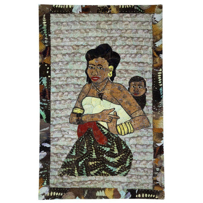 "16"" x 9.5"" Butterfly Wings Mosaic Art - Mother carrying her baby on her back - Afrilege"