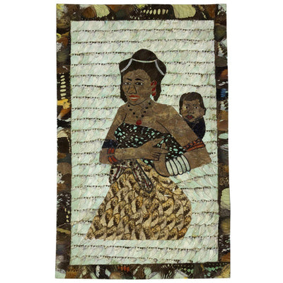 "16"" x 9.5"" Butterfly Wings Mosaic Paintings - Mother carrying baby on her back - Afrilege"