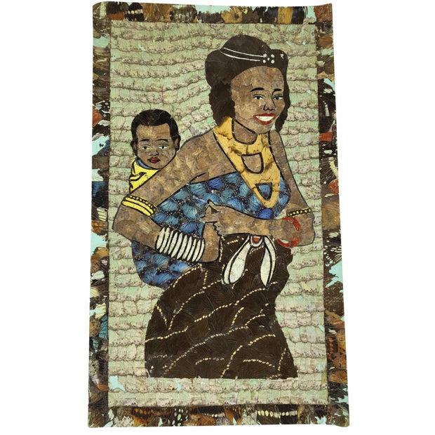 "19.5"" x 11.5"" Butterfly Wings Mosaic Paintings - Mother carrying baby on her back - Afrilege"