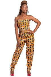 African Print Masika women's Pants (Orange) - Afrilege