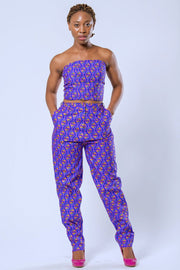 African Print Nina Women's Pants - Purple - Afrilege