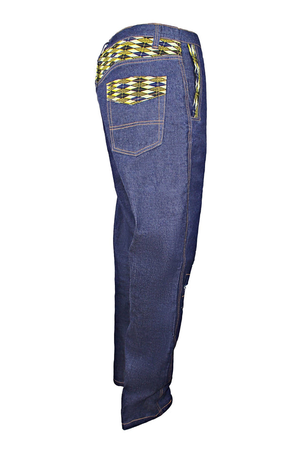 Desta Dark Blue Denim Jeans Men's Destroy Pants with African Print - Afrilege
