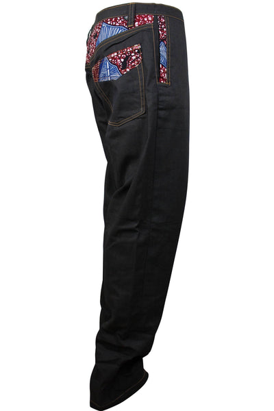 Adi Dark grey Denim Jeans Men's Pants with African Print - Afrilege