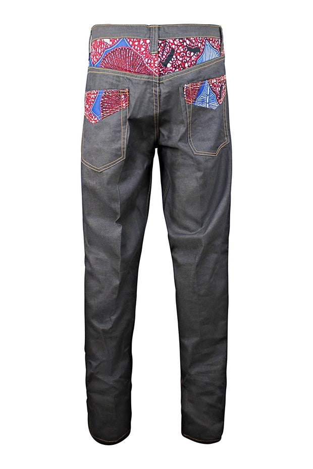 Adi African Print Denim Jeans Men's Destroy Pants (Dark Grey/ Red) - Afrilege