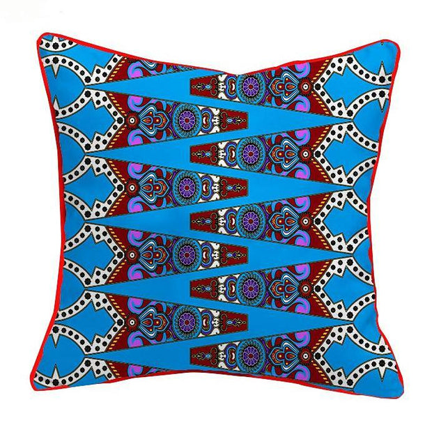 African Print Throw Pillow Case - Blue & Pink - Afrilege