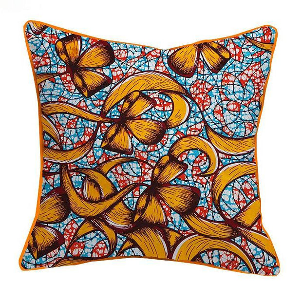 African Print Throw Pillow Case - Gold / Blue - Afrilege
